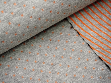 "Sweatshirt ""Doublelayer-Piqué"" Stepper grau orange [C11048-31]"